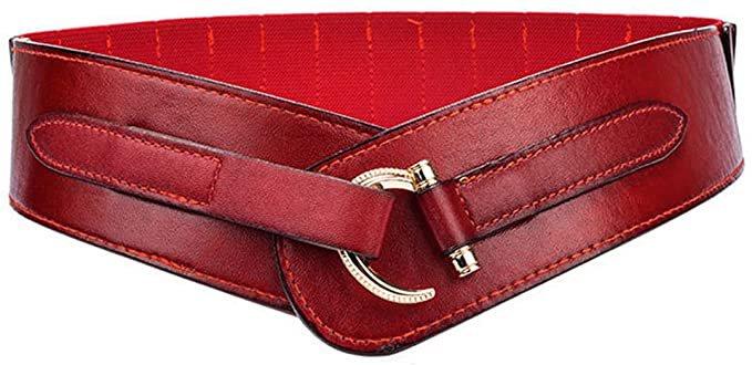 Women Leather Belt Fashion Hook Designed Buckle Wide Waist Belt Chic Elastic Stretch Waist Band (dark red) at Amazon Women's Clothing store