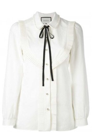 GUCCI Women's White Gg Pearl Pleated Bib Front Shirt