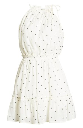 MOON RIVER Sleeveless Ruffle Hem Minidress white