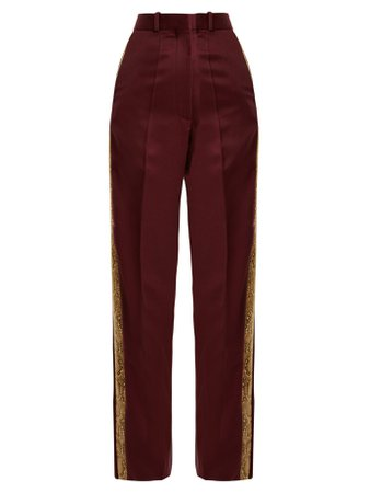 Bathorea faux snake-trimmed wool-blend trousers | Hillier Bartley | MATCHESFASHION.COM US
