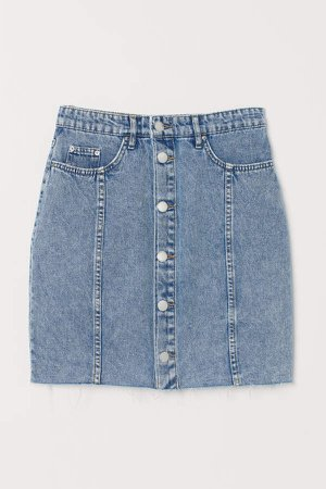 Button-front Denim Skirt - Blue
