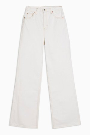 Ecru Slim Wide Leg Jeans   Topshop