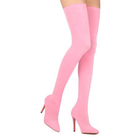 Women Stretch Fabric Thigh High Pointy Toe Stocking Stiletto Boot - HF49 By Cape Robbin Collection - Walmart.com