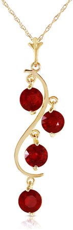 Galaxy Gold 14k Solid Yellow Gold 2 ct Ruby - Rubies Drop Dream Catcher Pendant Necklace