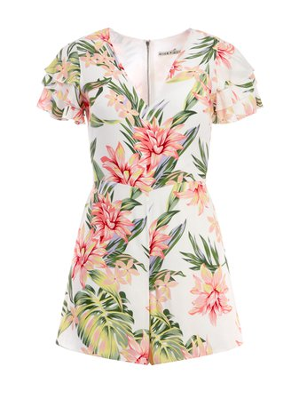 MACALL FLORAL RUFFLE ROMPER   Alice + Olivia