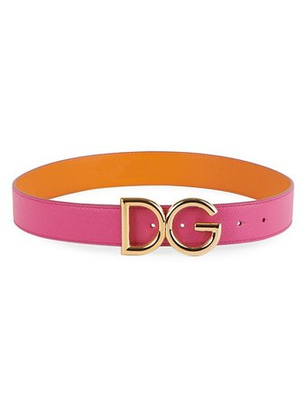 DOLCE&GABBANA DC Logo Two-Tone Textured Leather Belt | SaksFifthAvenue