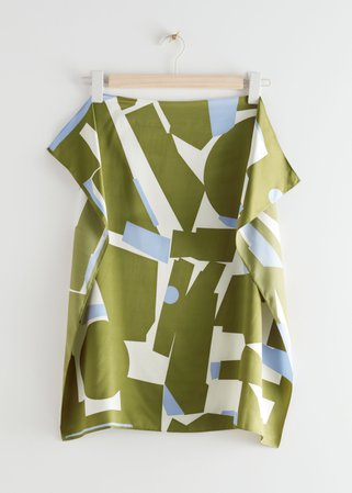 Geometric Print Scarf - Green - Lightweight scarves - & Other Stories