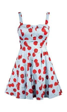 cherry print mini dress (blue + red)