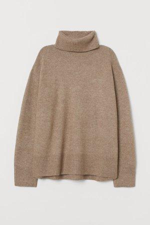 Knit Turtleneck Sweater - Beige