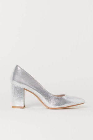 Block-heeled Pumps - Silver