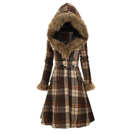 Amazon.com: Highpot Women's Fashion Plaid Faux Fur Hooded Coat Winter Trench Jacket Slim Parka Outwear (L, Red): Clothing