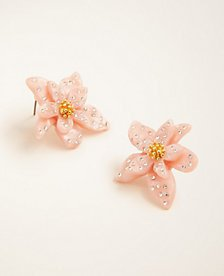 Pave Floral Statement Earrings | Ann Taylor