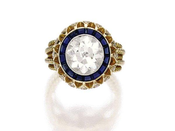 vintage cartier diamond sapphire ring