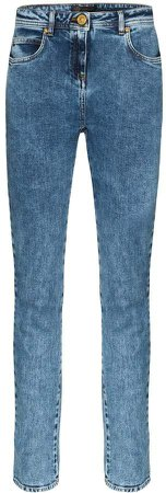 washed denim skinny jeans