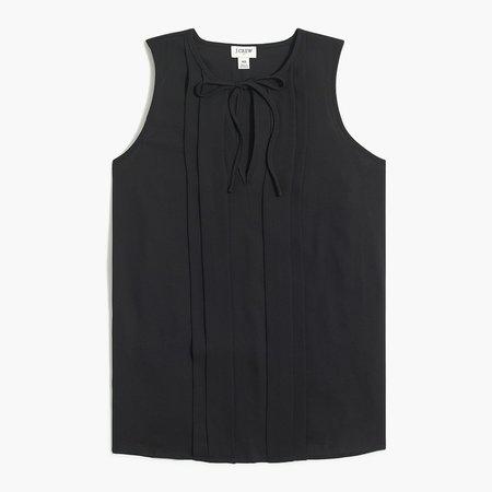 Sleeveless pleated tie-neck top
