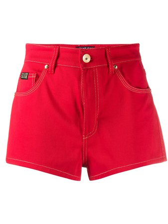 Versace Jeans Couture High-Rise Denim Shorts A3HVA18I15629 Red | Farfetch