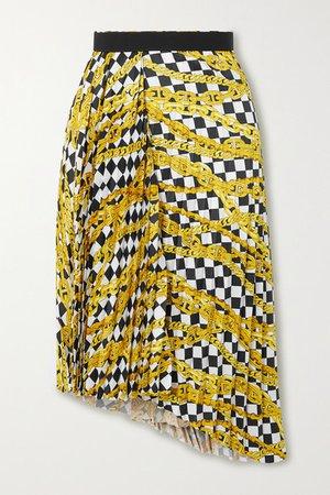 Asymmetric Pleated Printed Satin-crepe Skirt - White