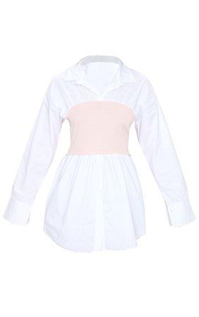Nude Rib Bust Panel White Puff Sleeve Shirt | PrettyLittleThing USA