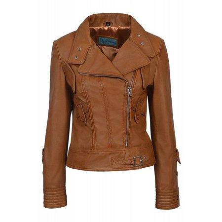 SUPERMODEL Ladies Tan Biker Style Designer Real Nappa Italian Leather Jacket 4110, Short Jackets, 4110 Tan, ,