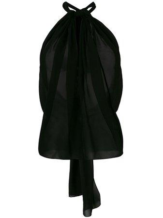 Shop black Saint Laurent halterneck semi-sheer top with Express Delivery - Farfetch