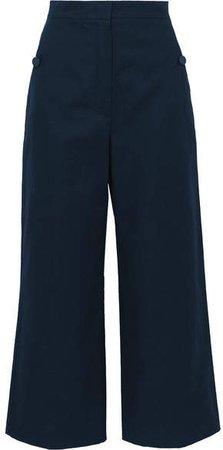 Cotton And Linen-blend Canvas Wide-leg Pants - Navy