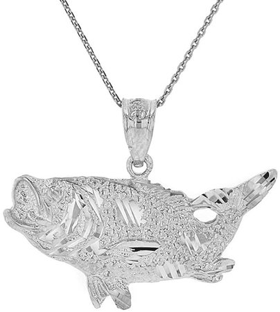 "Amazon.com: 925 Sterling Silver Sea Bass with Tail Up Pendant Necklace, 16"": Clothing"