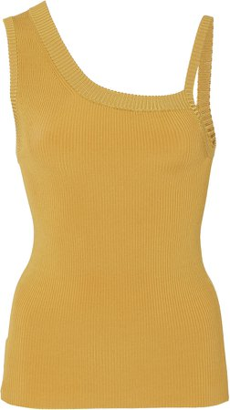 Asymmetric Ribbed-Knit Tank Top