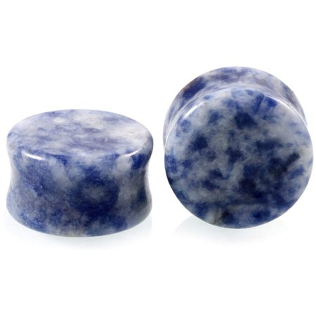 HQLA 1 Pair Blue Aventurine Organic Natural Stone Double Flared Flesh Tunnels Ear Plugs Gauges Stretcher Expander [1541682446-467856] - $3.87