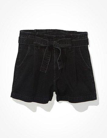 AE Paperbag Denim Mom Shorts black