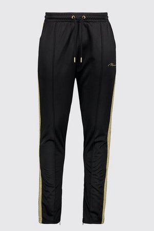MAN Gold Pintuck Jogger With Zips | Boohoo