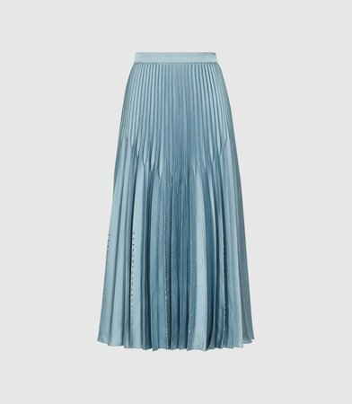 Diana Blue Embellished Pleated Midi Skirt – REISS