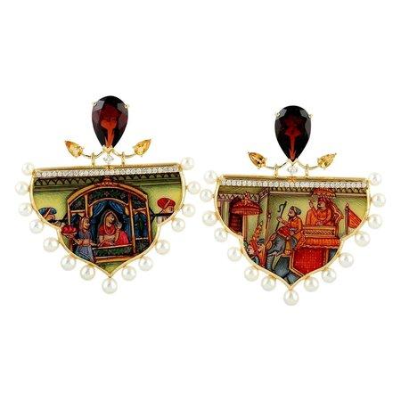 Enamel Garnet Citrine Diamond 18 Karat Gold Earrings For Sale at 1stDibs