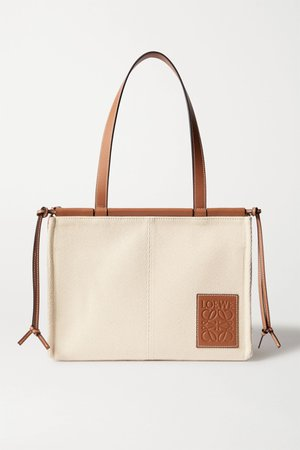 Tan Cushion small leather-trimmed canvas tote | Loewe | NET-A-PORTER