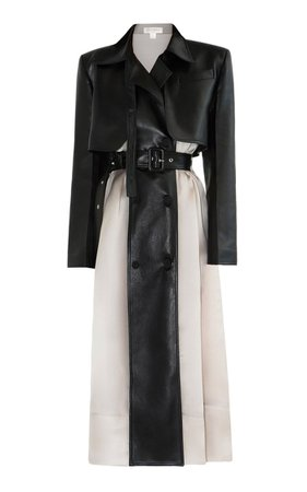 Two-Tone Vegan Leather Trench Coat By Matériel   Moda Operandi