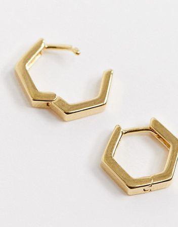 Orelia gold hexagon huggie hoop earrings in gold plate | ASOS