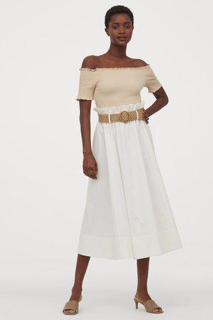 Belted Skirt - White - Ladies   H&M US