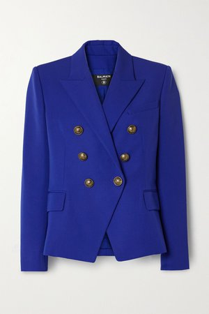 Royal blue Double-breasted wool blazer   Balmain   NET-A-PORTER