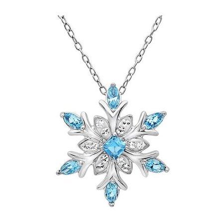 Light Blue Diamond Snowflake Necklace