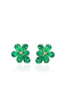 One Of A Kind Pear Shape Emerald Cluster Earrings By Goshwara   Moda Operandi