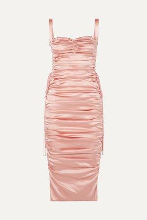 Dolce & Gabbana | Lace-up ruched stretch-silk satin midi dress | NET-A-PORTER.COM