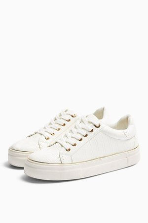 CLOVER White Lace Up Trainers | Topshop