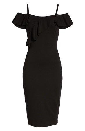 Bailey 44 Jungle Canopy Cold Shoulder Body-Con Dress black