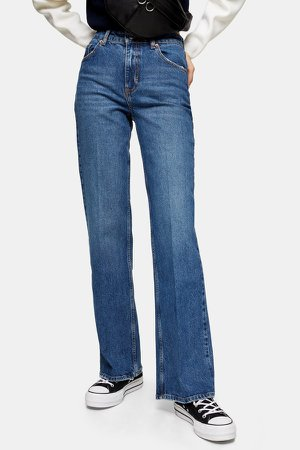 Mid Blue Relaxed Flare Jeans