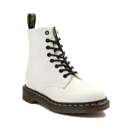 White Pascal 8 Eye Glitter Dr Martens Boots