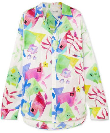 Printed Silk-jacquard Shirt - Pink