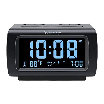 "Amazon.com: DreamSky Deluxe Alarm Clock Radio with FM Radio, USB Port for Charging, 1.2"" Blue Digit Display with Dimmer, Temperature Display, Snooze, Adjustable Alarm Volume, Sleep Timer.: Electronics"