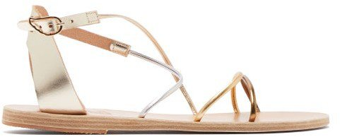 Meloivia Metallic Leather Sandals - Silver Gold