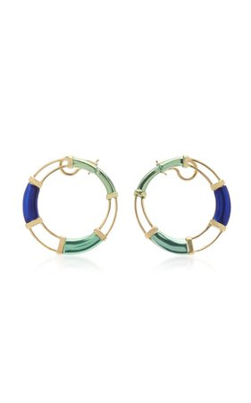 18K Gold and Multi-Stone Earrings by Carol Kauffmann | Moda Operandi