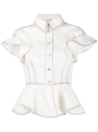 Alexander McQueen Peplum Denim Shirt - Farfetch