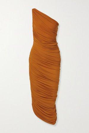 Norma Kamali | Diana one-shoulder ruched stretch-jersey dress | NET-A-PORTER.COM